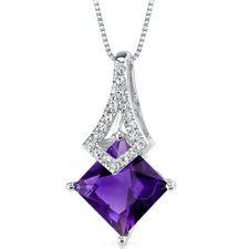 "14k White Gold 1.51 cts Amethyst Diamond Pendant, 18"""