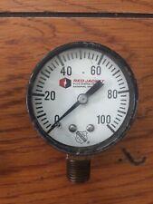Vintage Ashcroft Red Jacket Usa 1850 0 100 Psi Pressure Gauge 2 Diameter
