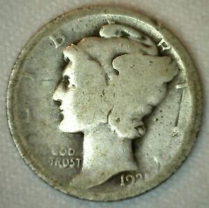 1921 Mercury Dime Silver 10C Almost Good US Type 10 Cents Coin AG
