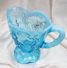 1900 era Northwood opaque blue glass cream pitcher / INTAGLIO pattern / EAPG old
