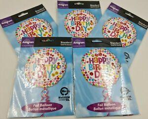 "5 x 18"" Happy Birthday Foil Round Helium Party Balloon job lot FLOWERS"