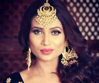 Latest South Indian Wedding Long Dangler Earring Maang Tika Set Fashion Jewelry