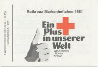 BUNDESREPUBLIK 1981 Rotkreuz-Markenheftchen mit H-Blatt 6 * Mi-Nr. 1110 mit ESST