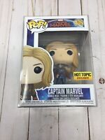 Funko Pop Captain Marvel Bomber Jacket Hot Topic Exc. #435 + Protector H22
