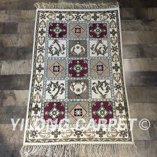 YILONG 2'x3' Handmade Silk Rug Four Seasons Traditional Oriental Carpet Y376C
