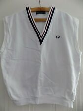 Fred Perry England Golf Sports Sleeveless Shirt Retro Mens Vest White Adults