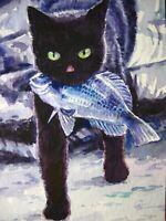 Watercolor Painting Cat Kitten Fish Fishing ACEO Art