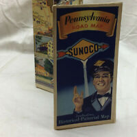 Vintage Sunoco Map Pennsylvania Road Map  Historical Pictorial Map