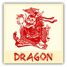 "Dragon Chinese Zodiac Sheng Xiao Humor Car Bumper Sticker Decal 5"" x 5"""
