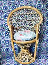 Vintage Rattan Doll/Teddy Display Chair - Stands 36cm - With Cushion