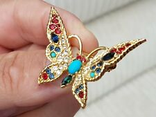VINTAGE SPHINX JEWELLERY CRAFTED BUTTERFLY RHINESTONE GOLD BROOCH SHAWL LACE PIN