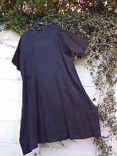 "EVA TRALALA LINEN DRESS TUNIC BNWT ETHNIC BLACK ONESIZE 48"" BUST LAGENLOOK BOHO"