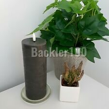 """Led Dark Grey wax PILLAR CANDLE natural glow size 3"""" by 8""""  battery operated"""