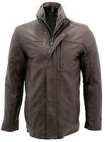 Men's Classic Warm Brown Leather Biker Jacket