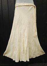 NWOT Per Una Cream Linen Embroidered Long Fishtail Flared Boho Skirt UK 14 L