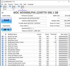 "Low-Hours 500GB Black External USB 2.0 Portable Hard Drive 2.5"" WD5000LPVX"