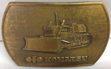 Vintage Komatsu Heavy Machinery Bulldozer Construction Brass Belt Buckle 1970s