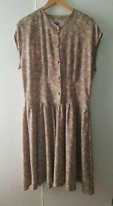 Vintage Crepe Dress Green Floral Cottagecore Size L 14-16 Summer Buttons