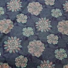 Stoff Meterware Baumwolle indigo petrol weiß Mandala Dekostoff aus Frankreich