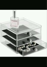 InterDesign Jewelry Organizer, 6.5X7X7, 3 Drawer, Black Felt Lining, Brand New