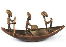 Art Africain Tribal - Pirogue en Bronze Akan - Baoulé - Côte d'Ivoire - 15Cms ++