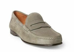 Ralph Lauren Purple Label Fog Grey Chalmers Suede Penny Loafers New $895