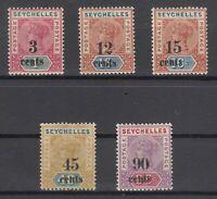 D3013/ BRITISH SEYCHELLES – VICTORIA – 1893 MINT MH LOT – CV 165 $