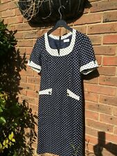ae Elegance Paris - blue-white polka dot very elegant summer dress - UK12   D38