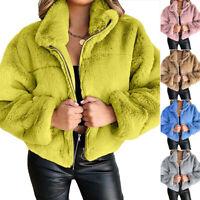 Women Faux Fur Fluffy Coat Winter Long Sleeve Zipper Jacket Tops Loose Outwear