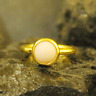 Handmade Round Band Natural Coral Ring Yellow Gold over 925K Sterling Silver