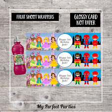 6 Princess and Superhero Personalised Fruit Shoot Bottle Wrappers Party Favour