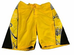 Speedo Swim Trunks Swimsuit Board Shorts Mens M Yellow Black Pockets Drawstring