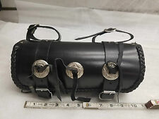 Leather Tool Roll Fork Bag Harley Honda Motorcycle 11x5 Conchos Sportster Vulcan
