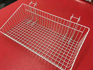 Mini Wire Grid Basket for wire Grid 24 x 12 x 6 w/ Slaped White Display in Store