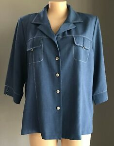 MILLERS Blue  & White Stitch 3/4 Sleeve Over Shirt / Lightweight Jacket Size 22
