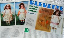 6p History Article + Uncut Pattern - Paper Doll Antique Bleuette Doll - Fur Coat