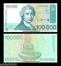 Croazia 100000 Dinara (100,000) 1993 p-27 prima prefisso Nuovo di zecca UNC banconote