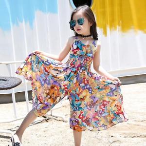 New Girls Dresses Bohemia Children Dresses Girls Summer Floral Dresses 6-14Years