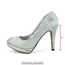 Women Round Toe High Heel Wedding Party Pump Platform Eiffel Silver Glitter # 7