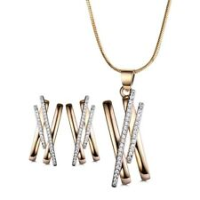 Fashion Bars Gold Filled Swarovski Crystal Necklace Earrings Lady Jewelry-SET