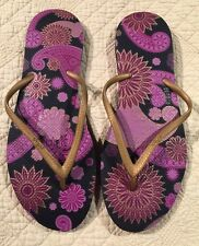 Dupe Flip Flops-Women's-Size 11.5-Gold Purple & Black- Floral Design New