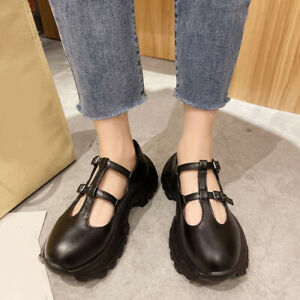 Fashion Women's Height Increase Shoes Round Toe Non-Slip Bottom Mary Jane Shoes
