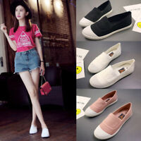 Fashion Women Girls Canvas Shoes Casual Slip On Flats Loafer Sneakers