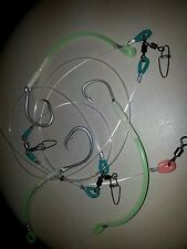 TOUGH TESTED 250LB 3 SWAPPABLE DROPPERS FULL LUMO STRONG HOOKS 3 x 12/0 TUNA