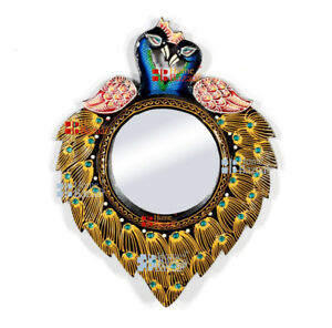 "Ethnic Designer Peacock Wall Unique Wooden 16"" Frame with 6"" Mirror Vintage-03a"