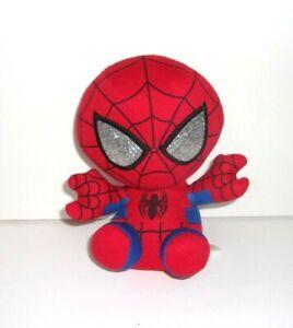 "Ty Beanie Baby Marvel Spider-Man Red Blue Black Silver Glitter Eyes Plush 6"""