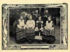 Russische Volkssängerinnen & Pfeifer in Nationaltracht Schmuckblatt von 1902