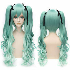 NEW Vocaloid Hatsune Miku Two Tone Curly Ponytails green Full Cosplay Wig  @10