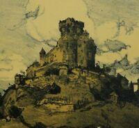 Erich NIKUTOWSKI (1872-1921) antike Farblithographie: DIE MARXBURG AM RHEIN