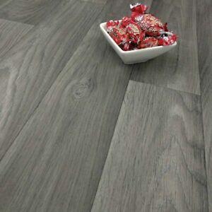 Grey Wood Plank  cushion vinyl Floor 2.8mm Lino Kitchen bathroom free delivery